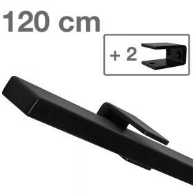 Design trapleuning zwart rechthoekig - 120 cm + 2 houders *GLADDE COATING*