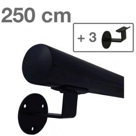 Zwarte Trapleuning 250 cm + 3 houders