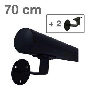 Zwarte Trapleuning 70 cm + 2 houders *GLADDE COATING*