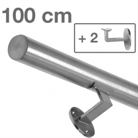 RVS Geborsteld Trapleuning 100 cm + 2 houders