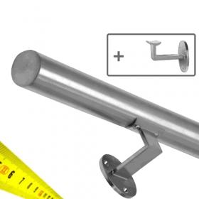 RVS Geborsteld Trapleuning + Houders - Op maat per cm