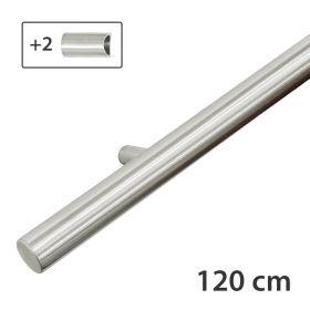 RVS design trapleuning 120 cm + 2 houders - Geborsteld