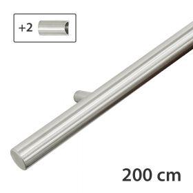 RVS design trapleuning 200 cm + 2 houders - Geborsteld