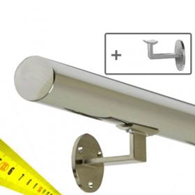 RVS Gepolijst Trapleuning + Houders - Op maat per cm