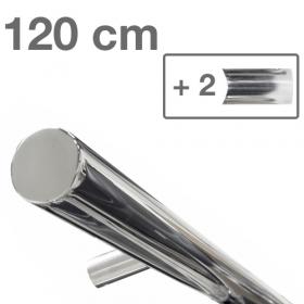 RVS design trapleuning 120 cm + 2 houders - Gepolijst