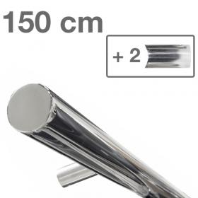 RVS design trapleuning 150 cm + 2 houders - Gepolijst