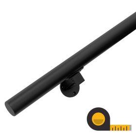 Zwarte Trapleuning + houders - op maat per cm