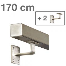 RVS Vierkante Trapleuning 170 cm + 2 houders