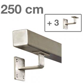 RVS Vierkante Trapleuning 250 cm + 3 houders